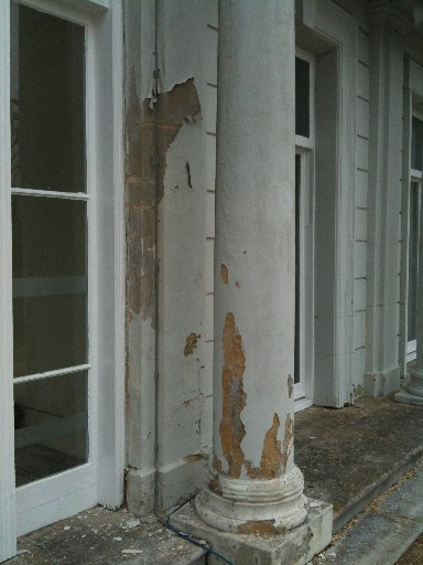 Column after flaking paint removed