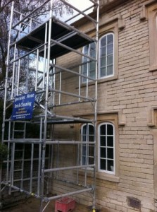Cotswold Stone House During Repointing with Lime Putty