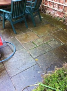 How do i clean my stone patio?